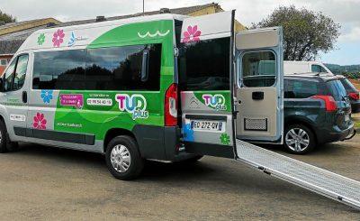 Véhicule TUD plus TAD transport à la demande Douarnenez mobilité pour tous rampe pour fauteuil