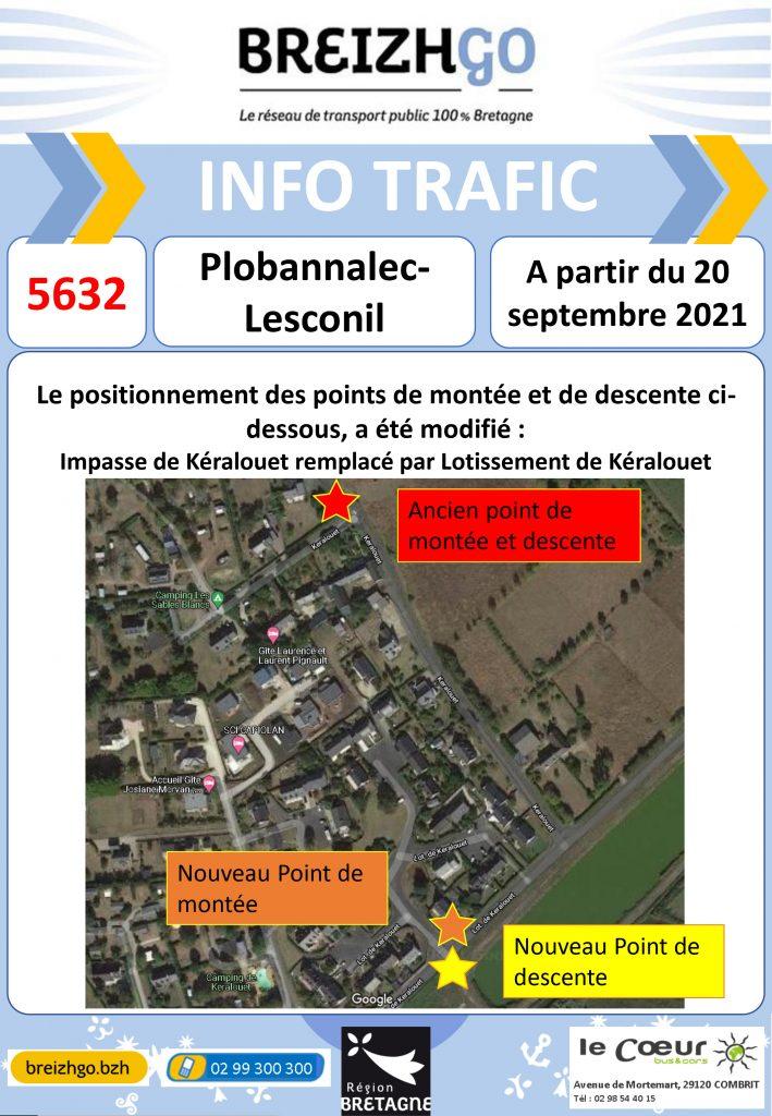 Info trafic ligne Breizhgo 5632 Le Guilvinec. Nos horaires et point d'arrêts évoluent en raison d'un nombre important d'inscriptions.