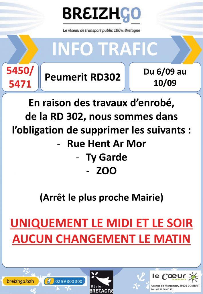 Modifications des arrêts sur les lignes scolaires breizhgo : 5450 et 5471 à Peumerit en raison de travaux d'enrobés du 6 au 10 septembre