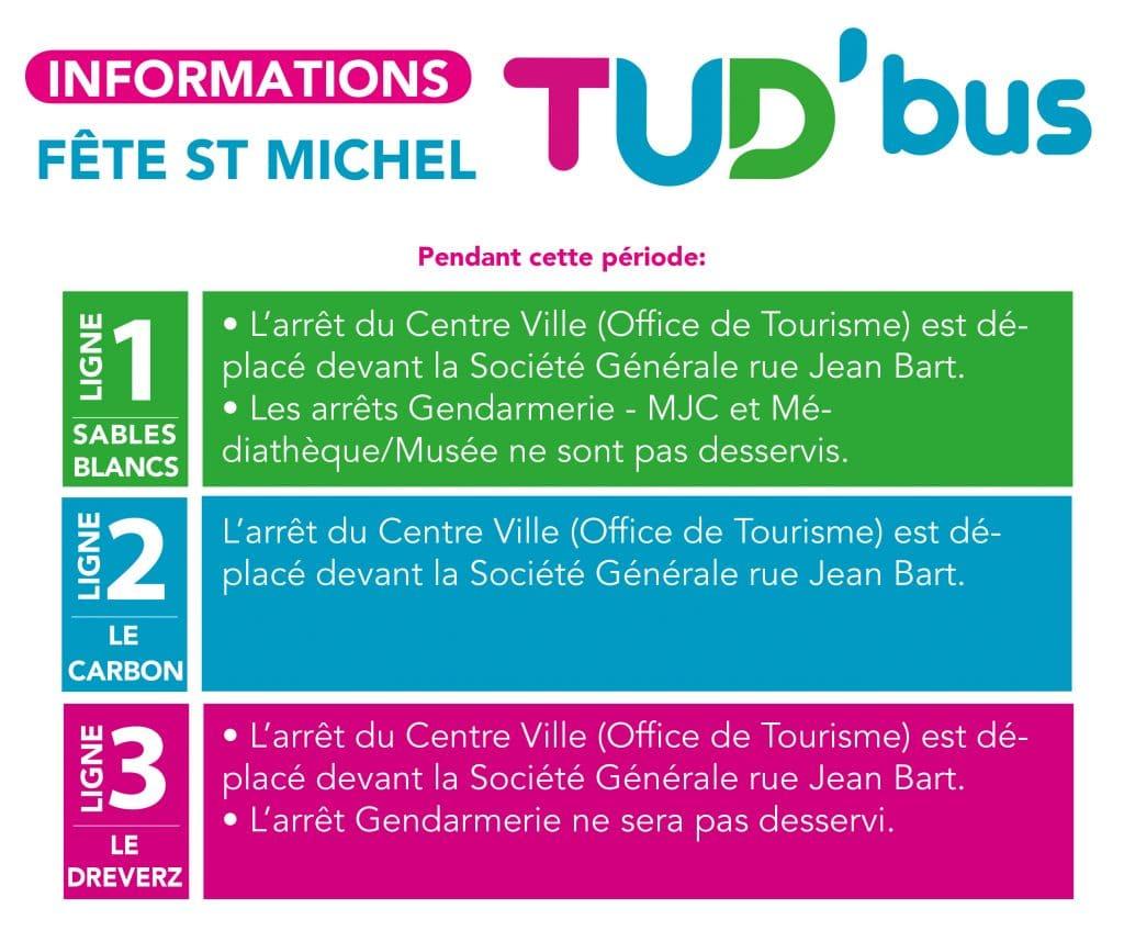 la Fête Saint Michel se déroulera à Douarnenez du 2 au 3 octobre 2021. Par conséquent, nous apportons des modifications sur vos 3 lignes de transport urbain TUD'Bus. Les modifications d'arrêt de bus commenceront le mardi 28 septembre à partir de 16H30 et se termineront lundi 4 octobre à 20H00.