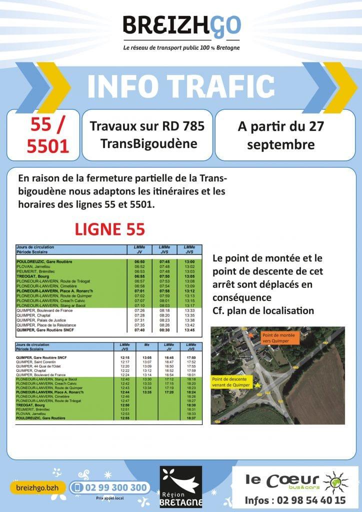 La Transbigoudène ferme partiellement pour travaux à partir du 27 septembre. Nous modifions les itinéraires et les horaires des lignes Breizhgo 55 et 5501.