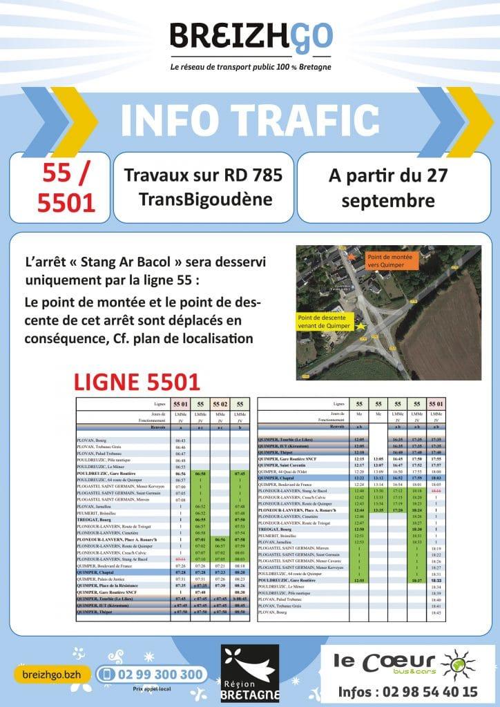 """Travaux Transbigoudène: Ligne 55 et 5501: Chers usagers, Nous desservirons l'arrêt """"Stang Ar Bacol"""" uniquement par la ligne 55. Merci de votre compréhension."""